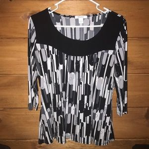 Black, White, & Silver blouse Dress Barn L